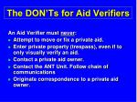 the don ts for aid verifiers
