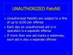 unauthorized patons