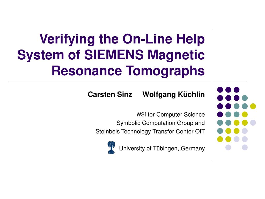 verifying the on line help system of siemens magnetic resonance tomographs l.
