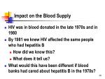 impact on the blood supply