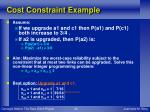 cost constraint example