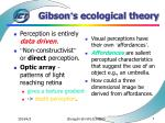 gibson s ecological theory