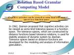 motivation of tolerant relation based granular computing model