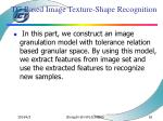 tg based image texture shape recognition62