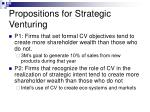 propositions for strategic venturing