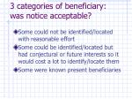 3 categories of beneficiary was notice acceptable