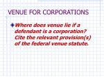 venue for corporations