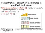 concentration amount of a substance in specified final volume