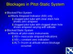 blockages in pitot static system
