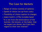 the case for markets