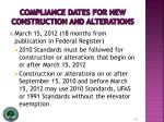 compliance dates for new construction and alterations