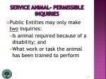 service animal permissible inquiries