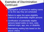 examples of discrimination continued