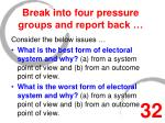 break into four pressure groups and report back
