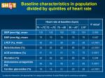 baseline characteristics in population divided by quintiles of heart rate10