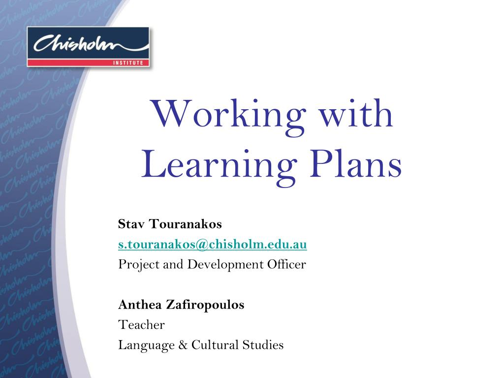 working with learning plans l.