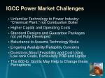 igcc power market challenges