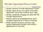 provider agreement process cont