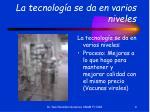 la tecnolog a se da en varios niveles
