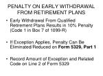 penalty on early withdrawal from retirement plans