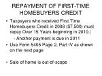 repayment of first time homebuyers credit