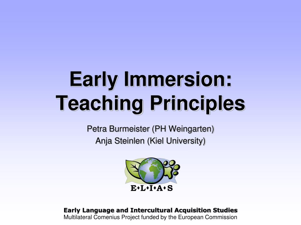 early immersion teaching principles l.
