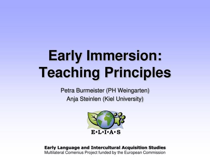 Early immersion teaching principles