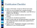 certification checklist