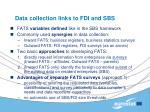 data collection links to fdi and sbs