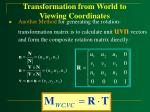transformation from world to viewing coordinates21