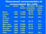 financement communautaire et recouvrement des co ts