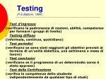 testing p e balboni 1994