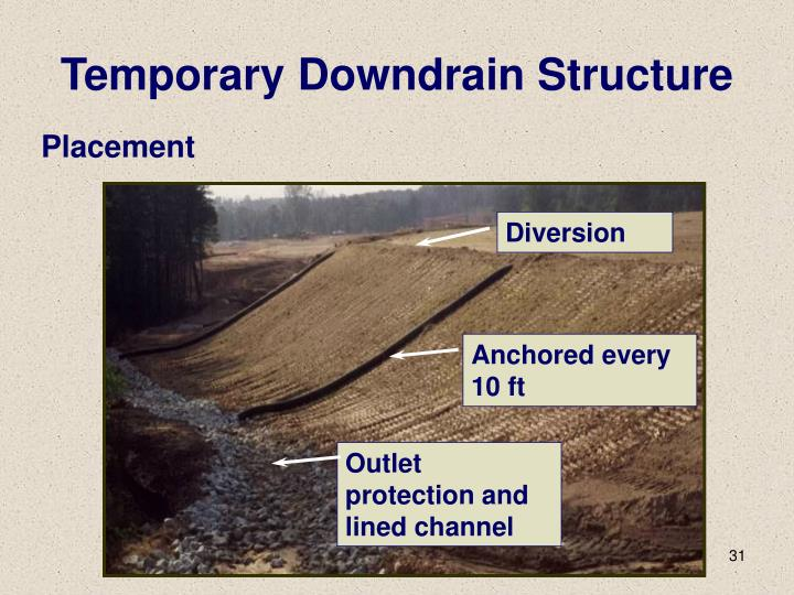 Temporary Downdrain Structure