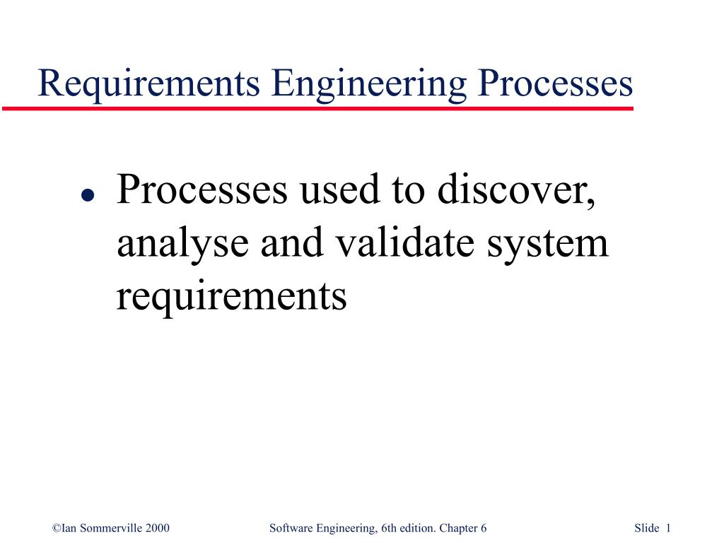 requirements engineering processes l.