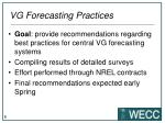 vg forecasting practices