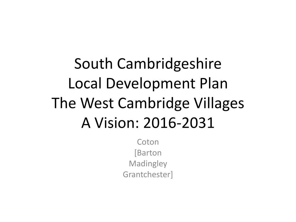south cambridgeshire local development plan the west cambridge villages a vision 2016 2031 l.