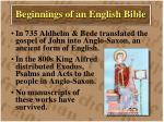 beginnings of an english bible