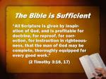the bible is sufficient