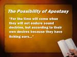the possibility of apostasy