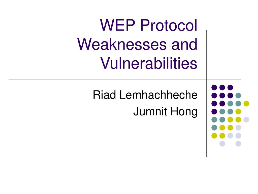 wep protocol weaknesses and vulnerabilities l.