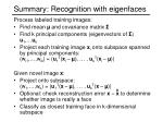 summary recognition with eigenfaces