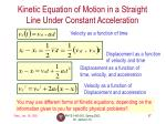 kinetic equation of motion in a straight line under constant acceleration