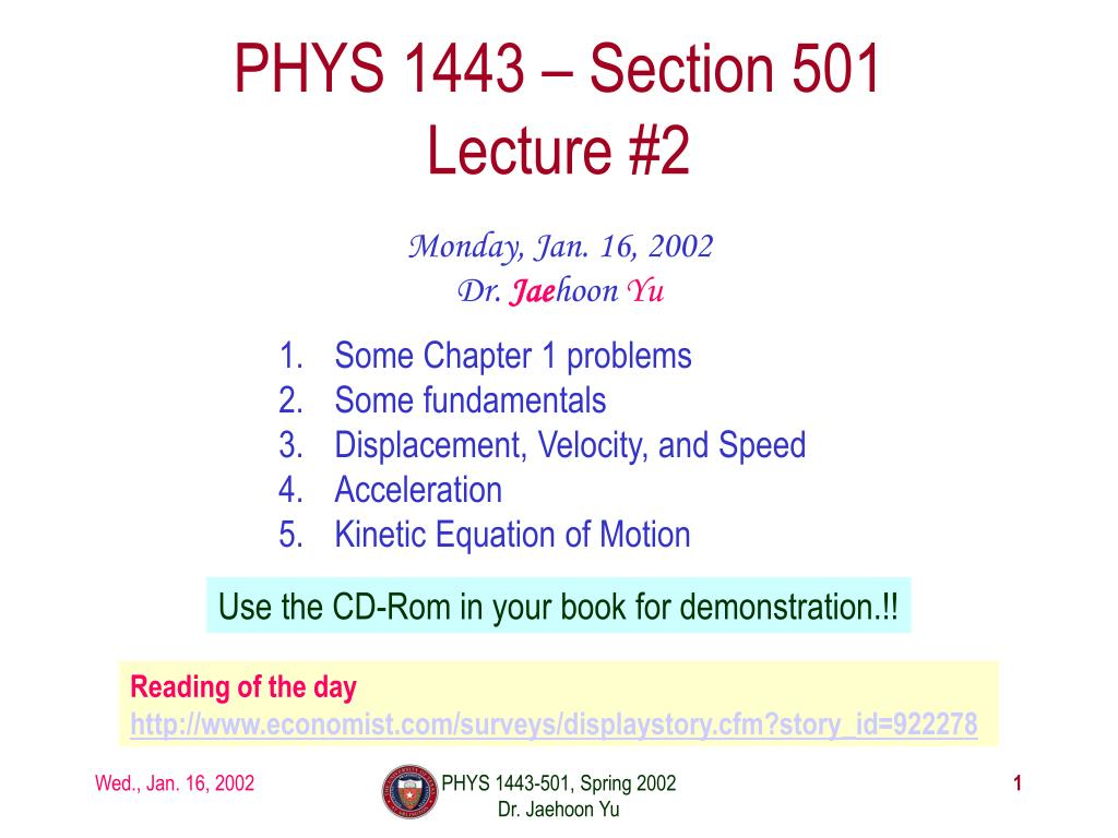 phys 1443 section 501 lecture 2 l.