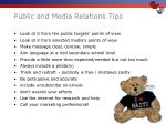 public and media relations tips