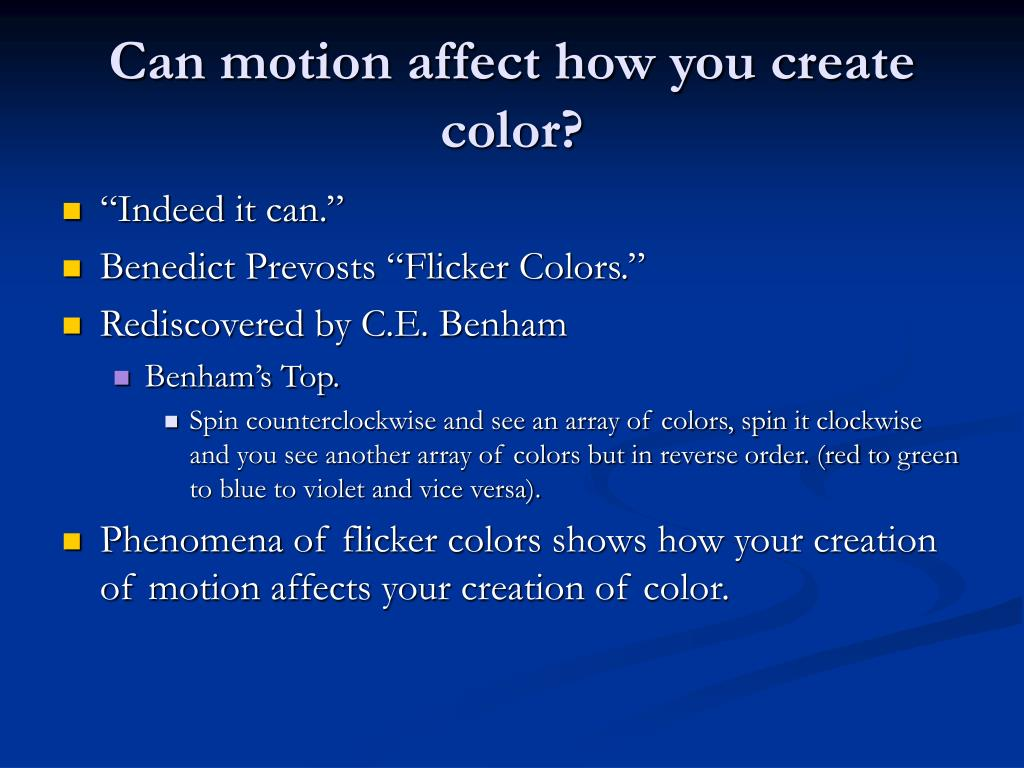 Can motion affect how you create color?