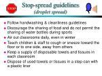 stop spread guidelines droplet spread