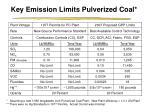 key emission limits pulverized coal