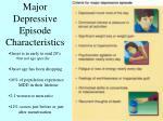 major depressive episode characteristics