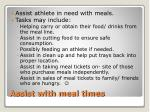 assist with meal times