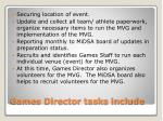 games director tasks include